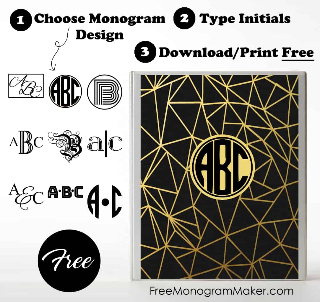 It is an image of Monster Printable Monogram Binder Cover