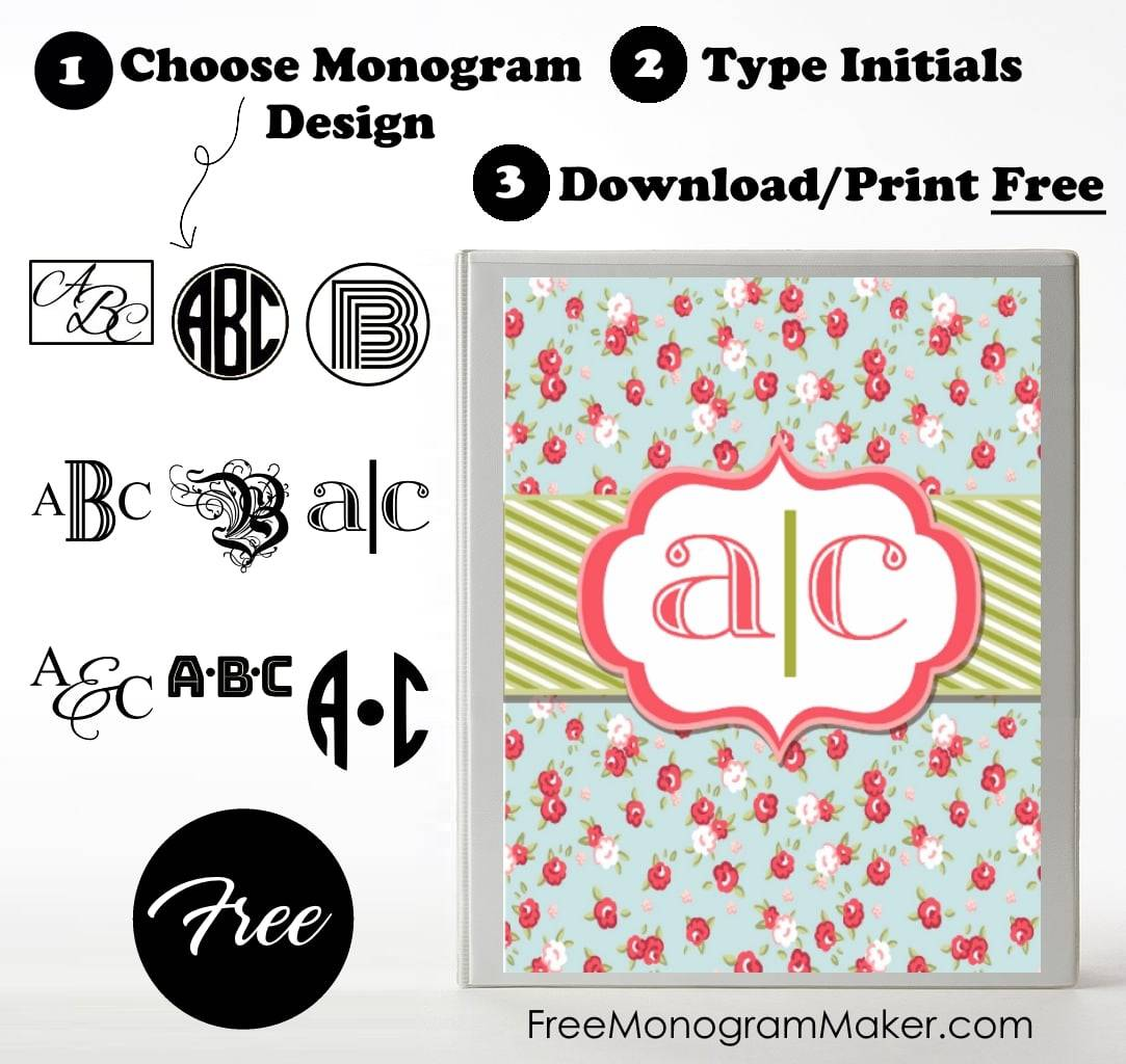 Free monogram binder cover customize online instant for Create a monogram free online