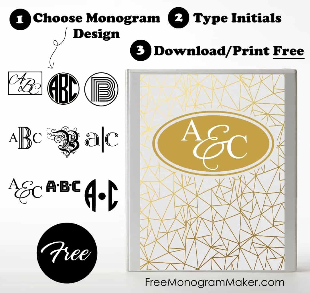 Free Monogram Binder Cover | Customize Online | Instant ...