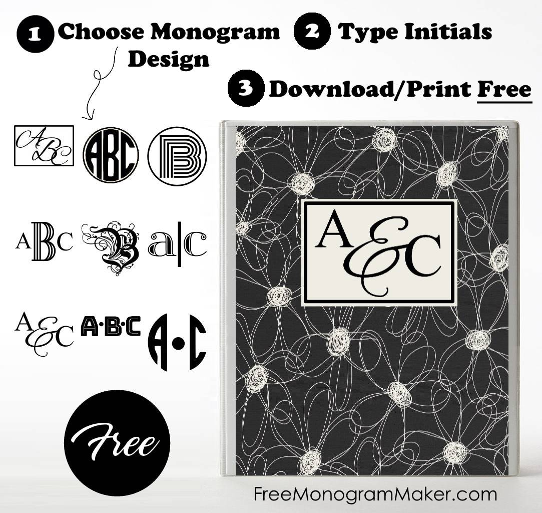 Free Monogram Binder Cover | Customize Online | Instant Download