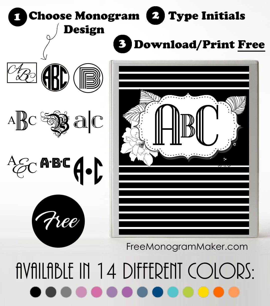 free monogram binder cover customize online instant download
