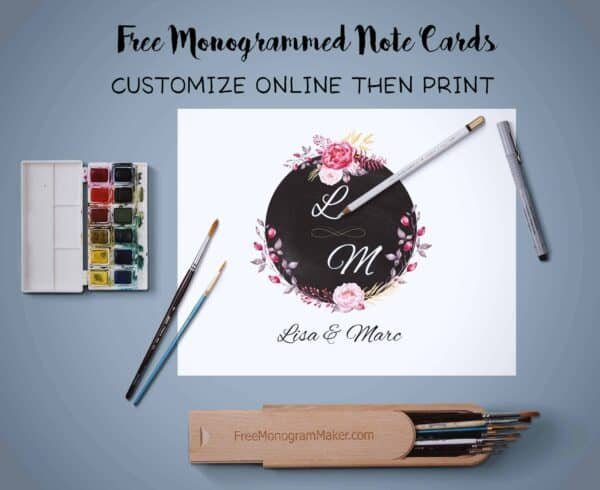 monogrammed note card
