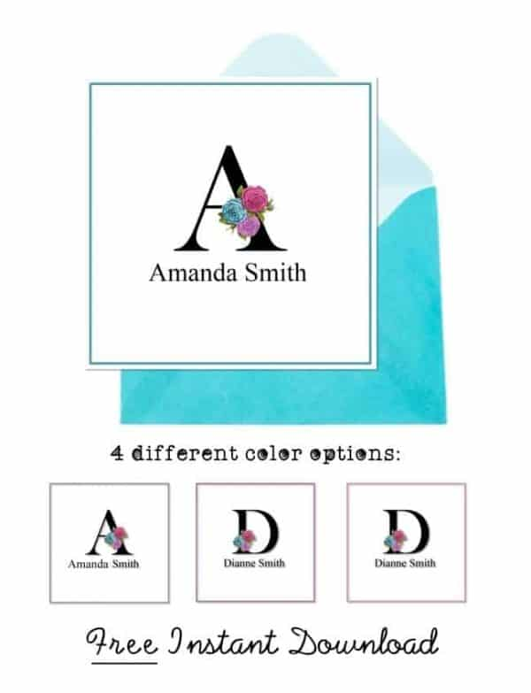 Free monogrammed note cards
