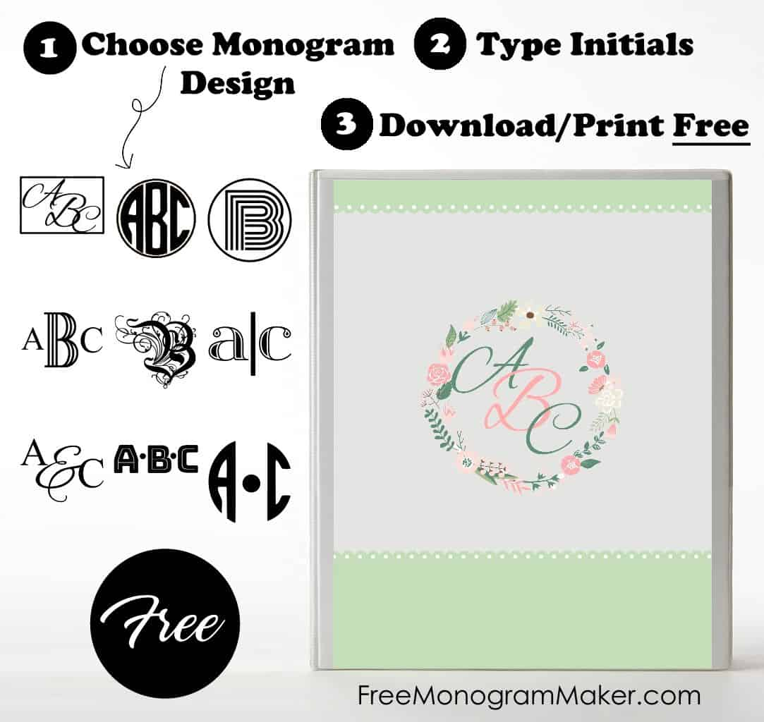 Free Monogram Binder Cover