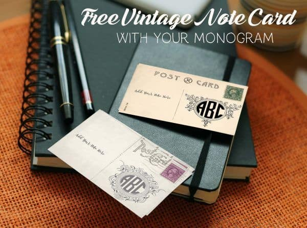 Vintage note card with monogram