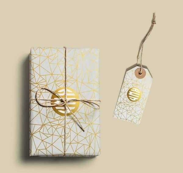 gold wrapping paper with your monogram