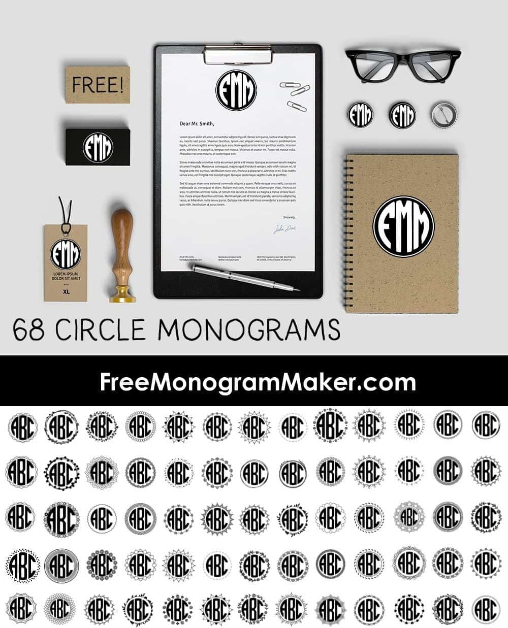 This is a photo of Modest Free Printable Monogram Maker