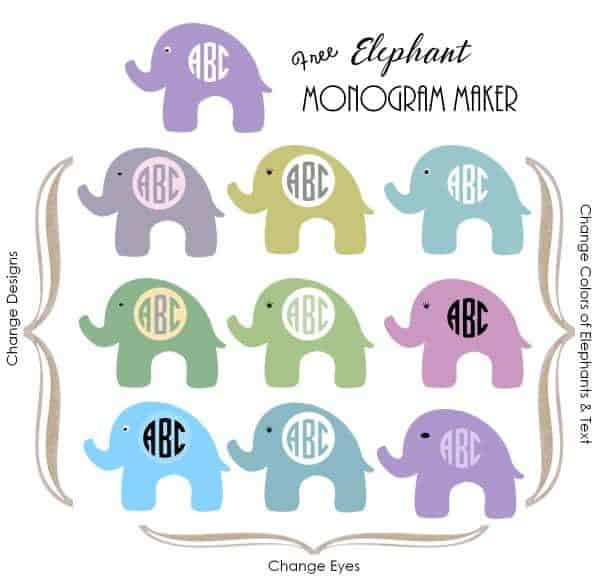 elephant monogram maker