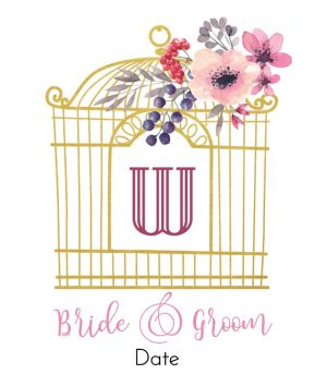 Gold bird cage with pretty flowers
