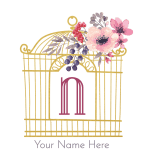 pretty gold bird cage with flowers and the initial n