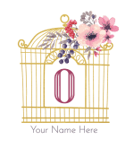 pretty gold bird cage with flowers and the initial o