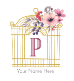 pretty gold bird cage with flowers and the initial p