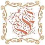 vintage style frame with initial