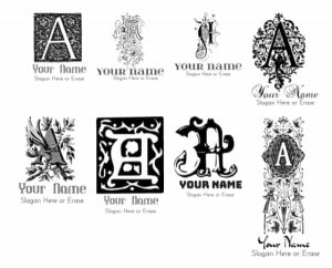 vintage font letter a