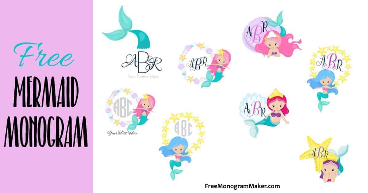 Free Mermaid Monogram Create Online Print At Home