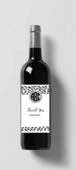 Monogrammed bottle of wine