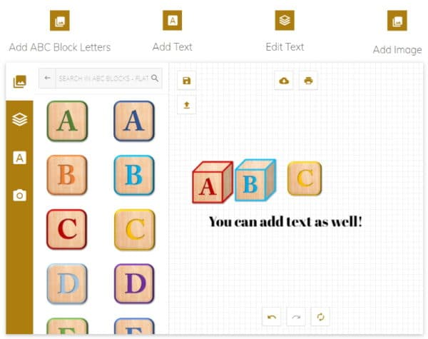 abc block letter alphabet maker